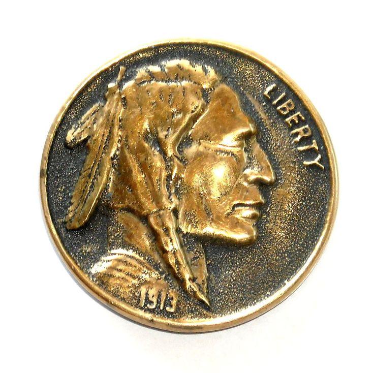Indian Head Heritage Mint Solid Brass Round Vintage Belt Buckle