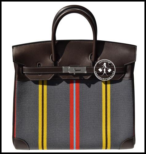 32 Hermes HAC Handbag Brown Swift Leather Grey Striped Toile Palladium 9835