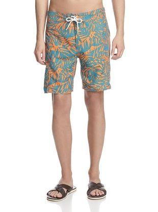 60% OFF TRUNKS Men's Salty Print Boardshorts (Orange)