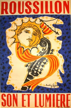 Roussillon Son et Lumiere, 1958 - original vintage poster by Balbino Gimer listed on AntikBar.co.uk