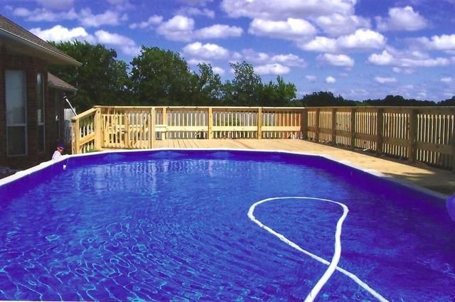 Large pool large deck above ground pool decks for Above ground pool decks video