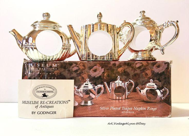 3 Godinger Silverplate Teapot napkin rings 1994 #Art_Vintage4Lynn #Ebay to buy click image #NapkinRings #SilverNapkinRings #Godinger #VintageGodinger #GodingerNapkinRings #TeaPotNapkinRings #TeaPart #GardenParty #TableWare