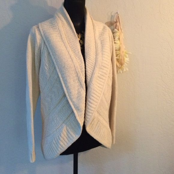 Soft curved cardigan. Lands End uses nice materials.  This is a cream sweater that has curves and a great cowl neckline. In great condition.  Thick cotton, wool and nylon weave. Lands' End Sweaters Cardigans
