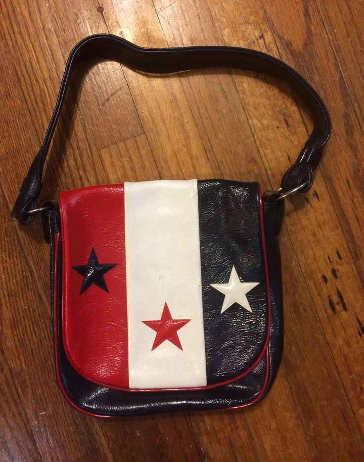 Vinyl Purse 60s rock n roll patriotic red white blue shoulder flap star bag hippie USA by TheWabiSabi on Etsy
