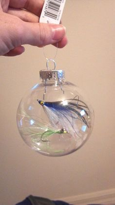 fishing theme, aisle decoration, fishing ornament, possible hanging centerpiece idea, DIY ornament, Christmas ornament and fishing lures / fishing flies