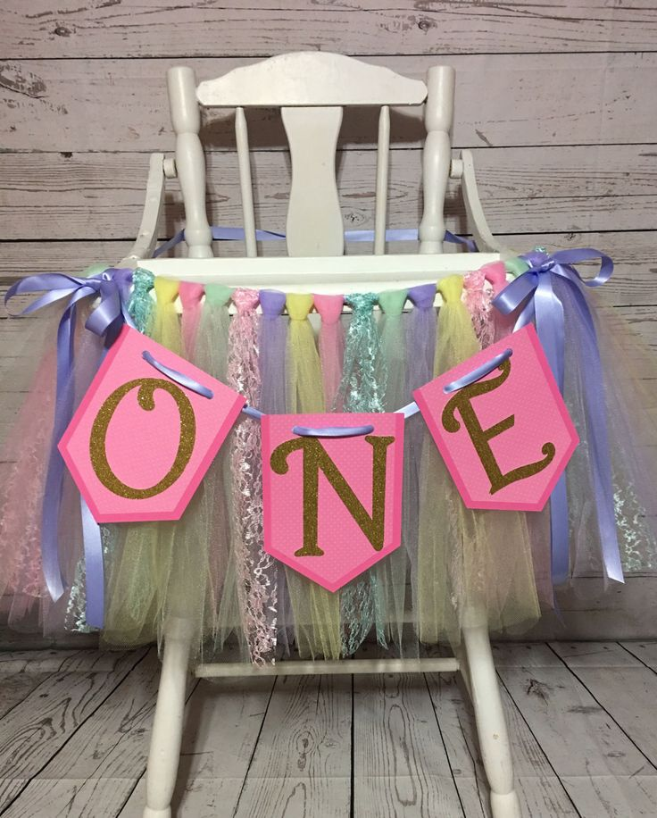 Pastel High chair Tutu- High chair Banner- Highchair Tutu- Highchair Banner- Tulle Highchair Skirt- High Chair Decoration by AvaryMaeInspirations on Etsy