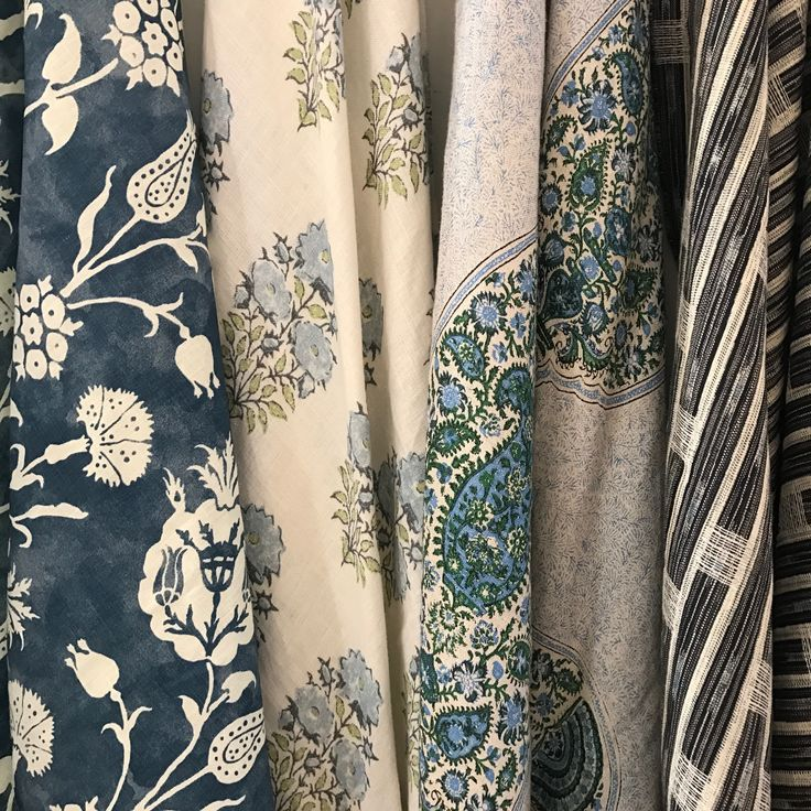 Carolina Irving's new reverse pomegranate fabric on the far left inspired this scheme (from left: Carolina Irving, Lisa Fine, Peter Dunham Textiles, Penny Morrison) #hahfabrics #decorating #textilelove