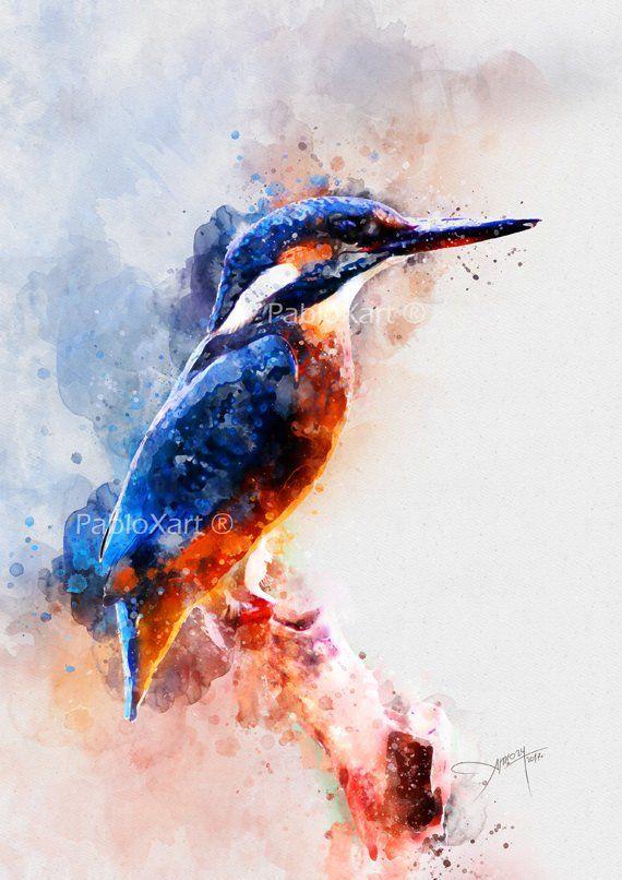 Aquarelle Oiseau Oiseau Impression Digitale Imprimable Art