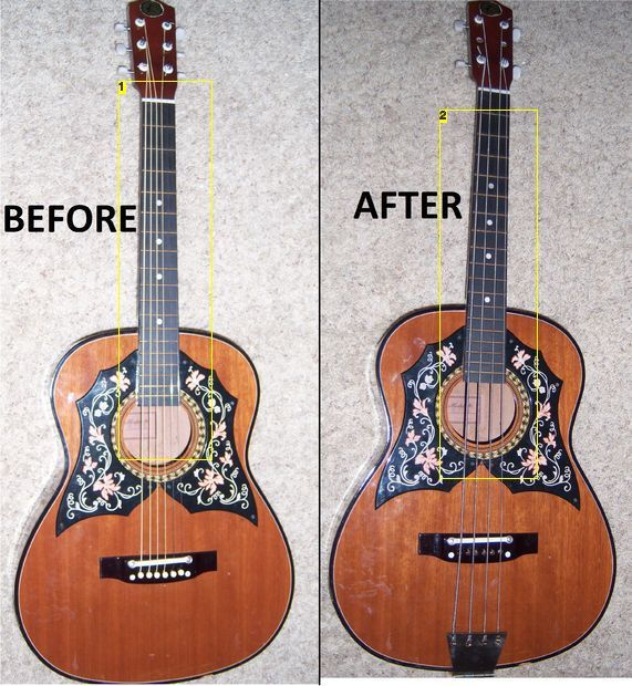 Cheap acoustic guitar to bass conversion?  I'm gonna have to try this