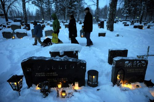 Families in FINLAND usually visit the graves of their ancestors and relatives on Christmas Eve to light candles in memory of the deceased. Even those who don't have their kin's graves nearby visit cemeteries to place candles in honor of their family members buried elsewhere. Hence, on Christmas eve, cemeteries would be lit up with candles presenting a beautiful sight.