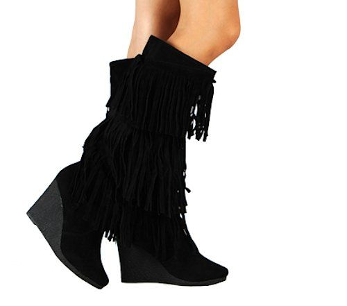 Womens Faux Suede Fringe Wedge Knee High Heel Boots in Black, Tan (5.5, Black) >>> You can find out more details at the link of the image.
