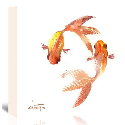 "East Urban Home Koi Feng Shui  Painting Print on Wrapped Canvas Size: 24"" H x 30"" W x 1.25"" D"