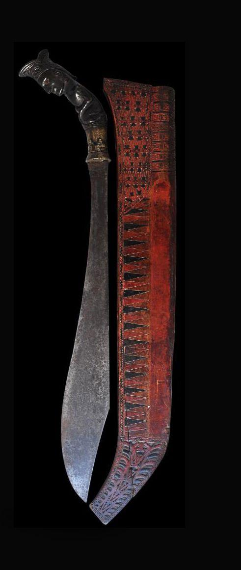 Carved Horn & Wood Piso Sanalenggam Sword - Pakpak Batak People, North Sumatra, Indonesia - 19th century