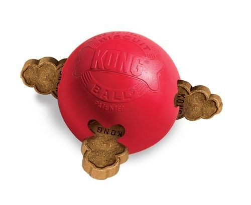 KONG Biscuit Ball is a patented natural rubber ball with a hollow center and four bone-shaped ports to hold KONG Snacks and Treats. It is fun and durable.  #Dogs #Dog #Pets #Pet #Gift #Gifts #Christmas #Holiday #Holidays #Present #Presents #Accessories #Dog #Dogs #Chew #Toys #Toy