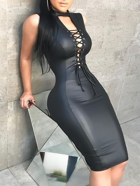 d961c49c24 Winter Dress Women Sleeveless Slash Neck Double Ruffle Top Artificial Leather  PU