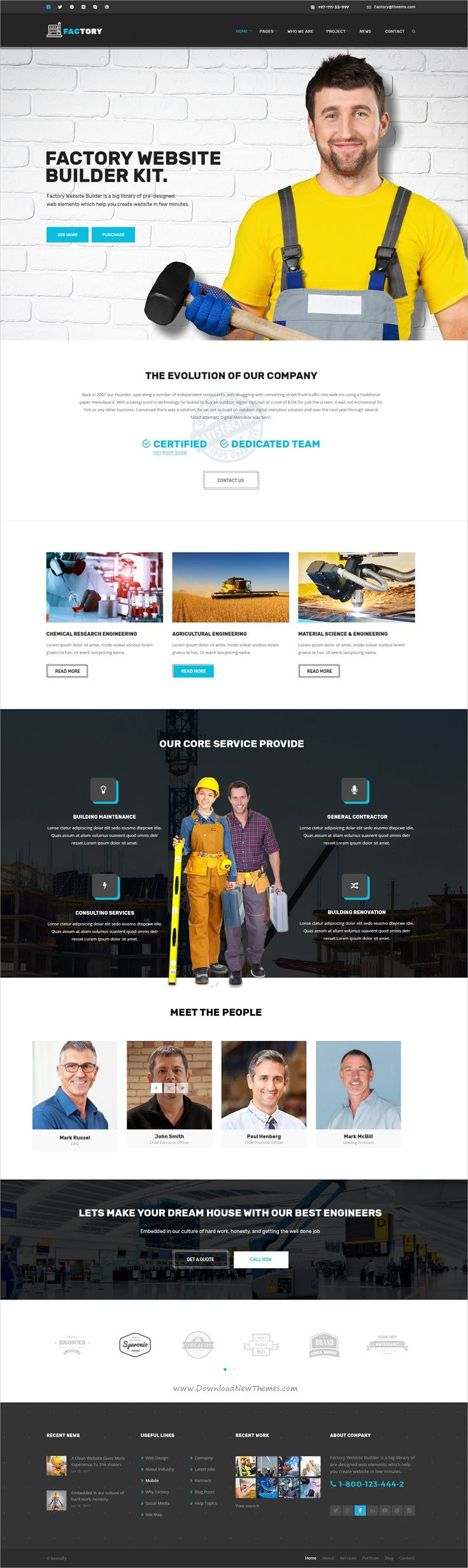 Factory is a modern design #PSD template for #industrial, mechanical, #engineering, construction company websites download now➩  https://themeforest.net/item/factory-industrial-business-psd-template/19035871?ref=Datasata