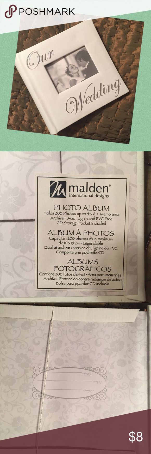 Wedding Photo Album holds 200 photos, up to 4x6 Wedding Photo Album holds 200 photos, up to 4x6. CD storage pocket included. New, never used Malden International Design Other