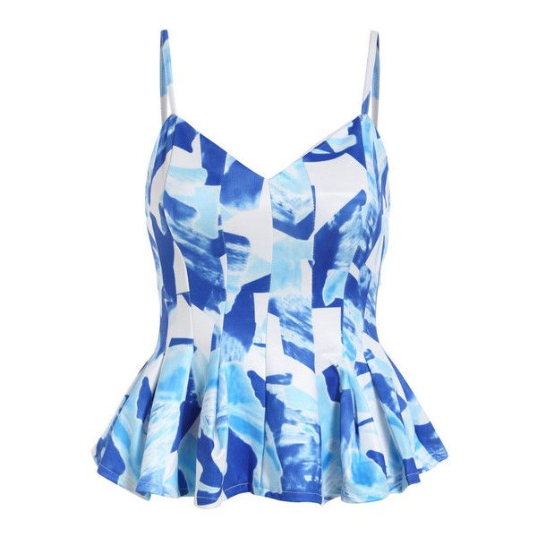 SheIn(sheinside) Blue Spaghetti Strap Floral Ruffle Cami Top ($18) ❤ liked on Polyvore
