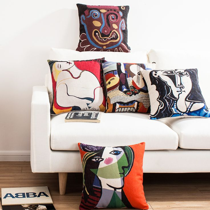 Color painting Picasso Nordic contracted ikea high-grade office nap cotton and linen sofa cushion for leaning on of pillowcase v