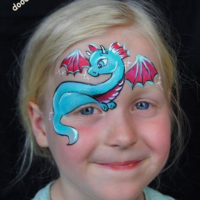 I had to try this cute dragon girl design by Silvia Vitali #dragon #facepaint #facepainting #dragonfacepaint #silviavitali #doodlez