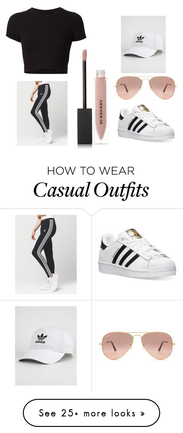 """Casual"" by paigalyn on Polyvore featuring adidas, Getting Back To Square One, Burberry and Ray-Ban"