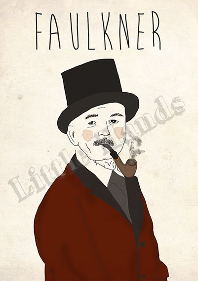 Faulkner  Digital Illustration  * Printed in recycled 300g paper   * Size A3 ( 42cm x 29.7cm ) - If you are looking for other size please get in touch!  * We are more than happy to create custom work, if you have a request please get in touch and we will do everything in our power to make your life/walls complete.