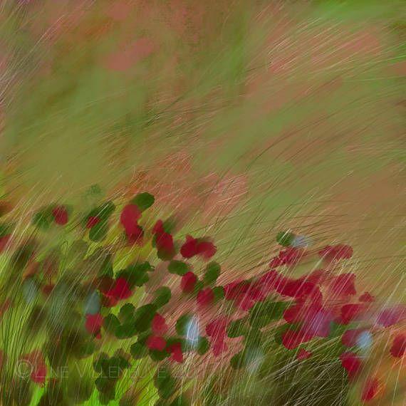 Dessin peinture paysage impressionniste champ fleurs vert