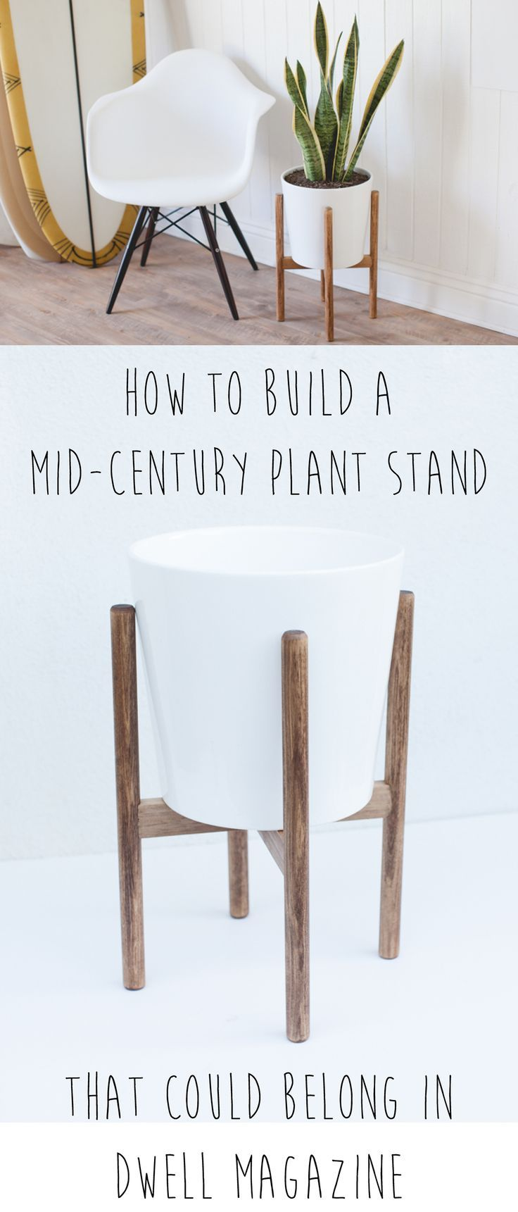 If Youre Looking For A Stylish Yet Minimalist Plant Stand This Do It Yourself Mid Century Inspired Planter Is Simple Solution Your Indoor