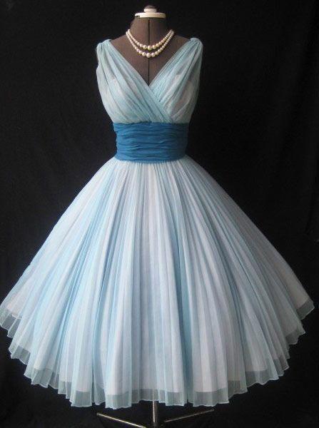 c748586dbd 1950s Vintage Short Light Sky Blue Homecoming Dresses Birthday Dresses Evening  Dresses CHPD-