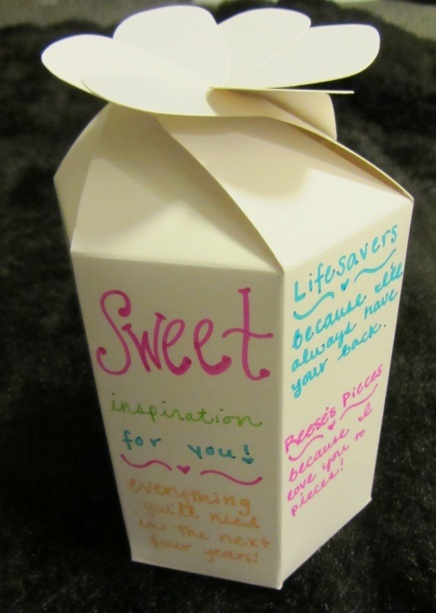 """Sweet Inspiration"" gift bag from my sorority craft blog, Pretty Little Letters! Includes creative sayings for candy bars!"