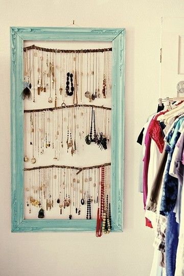 Necklace hanger. Add thicker rods instead of sticks. Add small shower curtain or screw hooks?