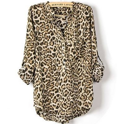 2014 New Arrival Elegant Women's Leopard Tabbed Sleeve Cotton Shirt Blouse Top Fashion Loose Style Plus Size Free Shipping $19.26