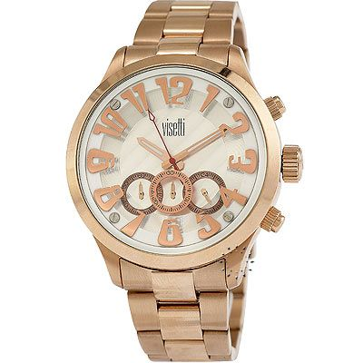 VISETTI Chronograph Rose Gold Stainless Steel Bracelet