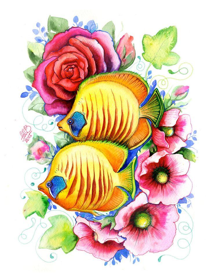 цветы картинки с рыбками там