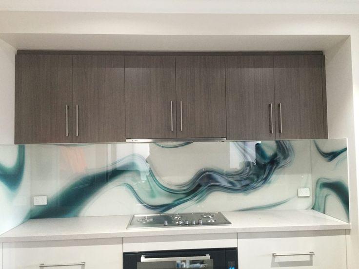 Teal squiggle kitchen printed glass splash back