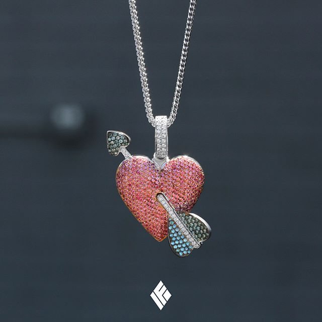 16fdfbcbed07a Solid 18K White Gold Heart & Arrow Emoji Pendant Fully Iced Out With ...