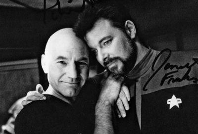 Patrick Stewart and Jonathan Frakes taken during the filming of Star Trek: Generations.