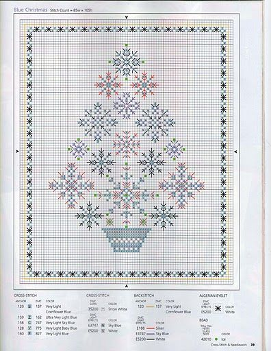 Blue Christmas cross stitch tree -- free