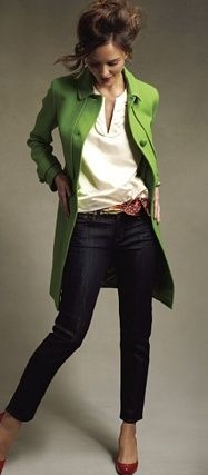 If your outfit contains all neutral colors like hers does (cream top and navy jeans with brown belt), then you can easily add up to two brightly colored accessories without being over done.  The bright green wool coat paired with the red pumps is a stand-out look, and in a good way!  All pieces would be in a wardrobe for years....all classic.