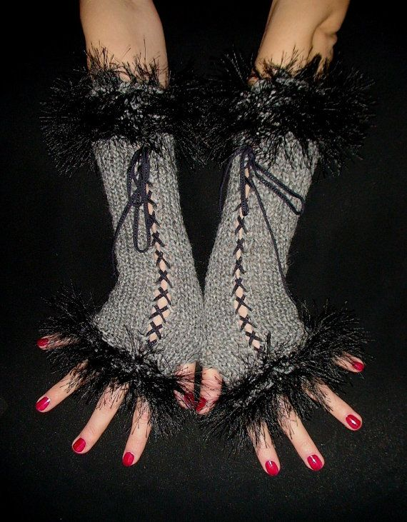 Fingerless Gloves Long Corset Arm Warmers in Grey by LaimaShop, $37.00