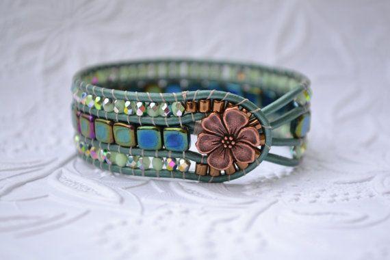 Beaded Wrap Bracelet, Wrap Bracelet, Cuff Bracelet, Czech Glass Beads, Czech Tile, Metallic Leather, Handmade Bracelet on Etsy, $40.00