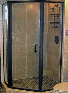 Neo-Angle Glass Shower Doors | Binswanger Glass | Neo-Angle framed shower enclosure with oil rubbed bronze finish