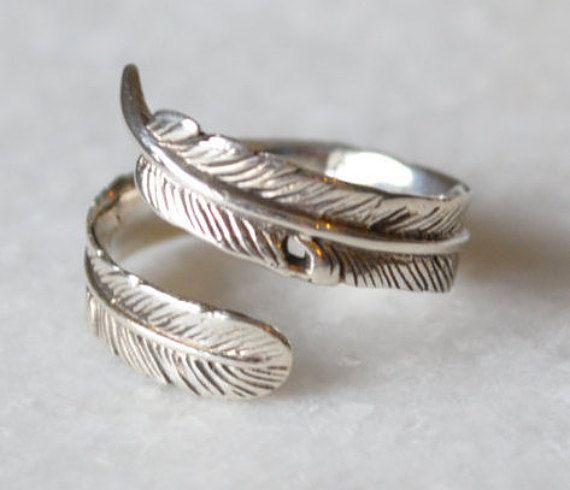 Statement Feather Ring in Sterling Silver by ShopZYLA