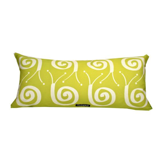 Snail pillow in green - Scandinavian sparse whimsy. Available at www.etsy.com/shop/troskodesign