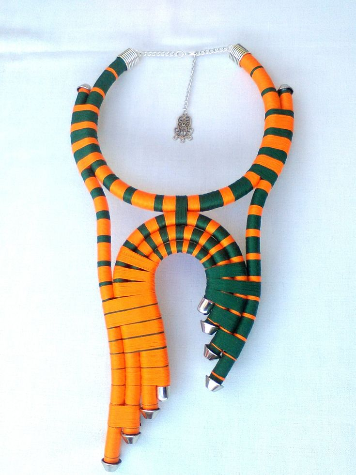 Unika Tribal neclklace, African jewelry, Multicolor necklace, Ethnic necklace, Green and orange, Unique necklace, rope necklace, by DesignAmmA on Etsy