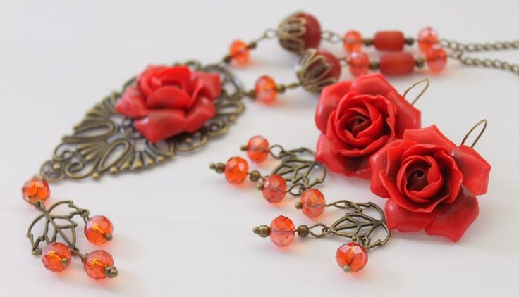 Red Roses Flowers Jewelry Set /Pendants Necklace Earrings/ Hand   #Handmade