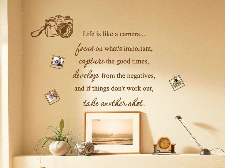 La vie est comme une caméra Photo famille Wall Art cite / Stickers muraux / Wall Decals de AmazingSticker by stickerlove2 on Etsy