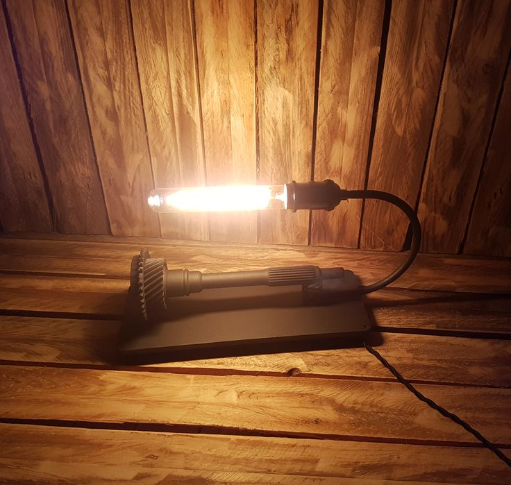 Iron table lamp with long Edison bulb - lighting, vintage, lights, industrial, steampunk, unique, recycling, loft, upcycling