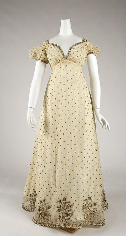 Evening dress  Date: ca. 1810 Culture: French Medium: cotton, metallic thread