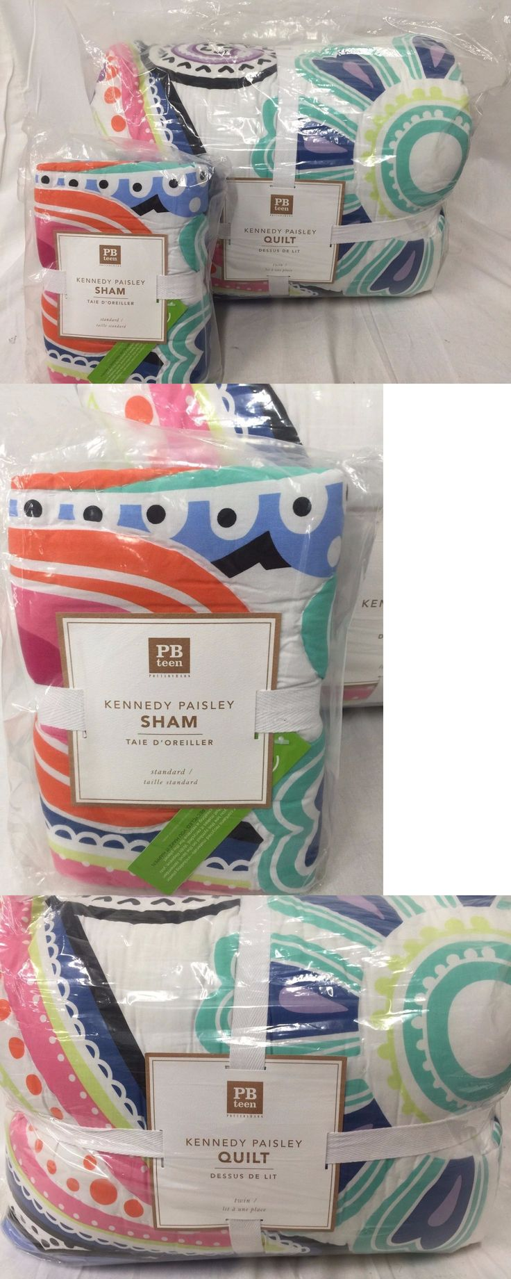 Kids Bedding: New Pottery Barn Teen Kennedy Paisley Twin Quilt And 1 Standard Sham BUY IT NOW ONLY: $129.95